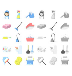 cleaning and maid cartoonmono icons in set vector image