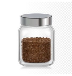 coffee glass jar instant coffee granules package vector image