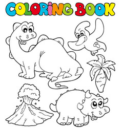 Coloring book with dinosaurs 2 vector