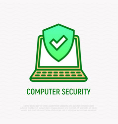 computer security thin line icon vector image