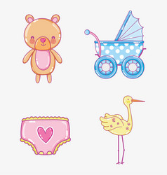 cute baby cartoons collection vector image
