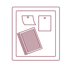 Dark red line contour of wooden panel for notes vector