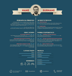 Dark retro cv resume template vector