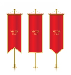Different shaped red vertical banner flags vector image