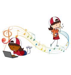 Doodle cartoon character girls listening music vector
