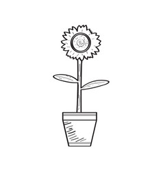 drawing of a sunflower retro style vector image