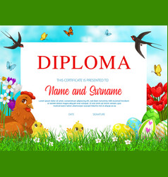 Education school diploma with easter chicks vector