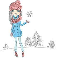 Fashionable hipster girl in winter vector