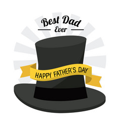 fathers day card best dad ever black hat ribbon vector image