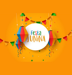 festa junina festival card balloons and flags vector image