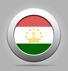 Flag of tajikistan metal gray round button vector