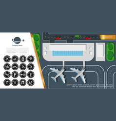 flat airport colorful top view concept vector image
