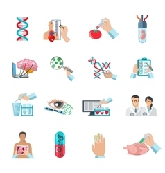 Flat Color Biotechnology Icons Set vector image