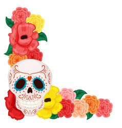 Floral frame with cute skull and rose and hibiscus vector