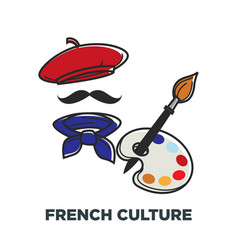 French culture symbols france beret and vector
