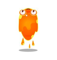 Funny cartoon orange sluggish blob monster cute vector
