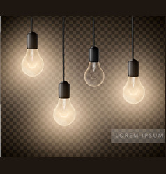 glowing light bulbs set of hanging lights on a vector image