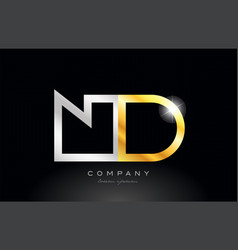 gold silver alphabet letter nd n d combination vector image