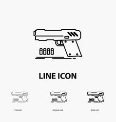 Gun handgun pistol shooter weapon icon in thin vector