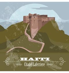 Haiti landmarks Citadel Laferriere Retro styled vector image