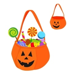 Halloween bag full of sweets and empty vector
