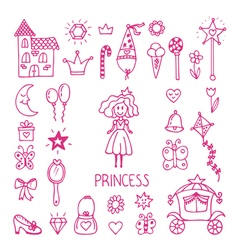 Hand drawn design elements of little princess vector image