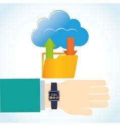 Hand smart watch wearable technology folder cloud vector