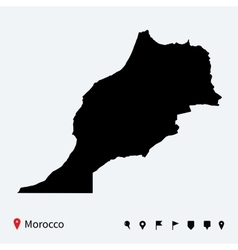 High detailed map morocco with navigation pins vector