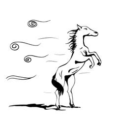 Horse in wind vector image