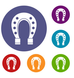 Horse shoe icons set vector