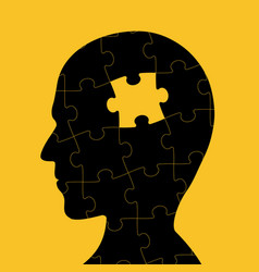 icon of human head with piece of puzzle vector image