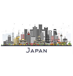 Japan city skyline with gray buildings isolated vector