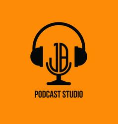 Jb monogram headphone and microphone style vector