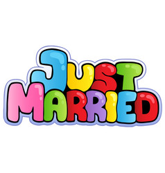 Just married cartoon sign vector