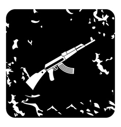 Kalashnikov machine icon grunge style vector
