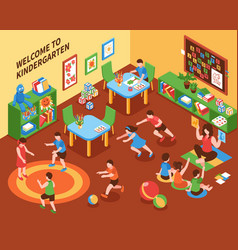 Kindergarten interior isometric composition vector