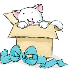 Kitten peeking out of a gift box vector
