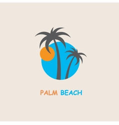 Label with palm tree vector