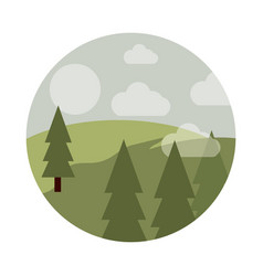 landscape nature pine trees forest field sun vector image