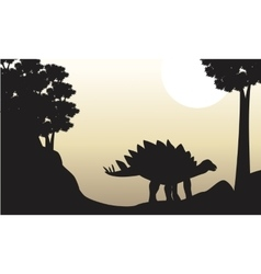 Landscape of stegosaurus silhouettes on the hill vector