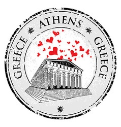 love heart stamp with parthenon shape from gre vector image