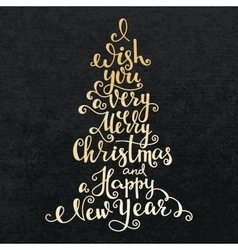 Merry Christmas Happy New Year lettering vector