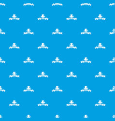 Modern hat pattern seamless blue vector