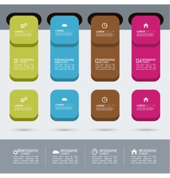 Multicolored plastic stickers with numbers and vector image