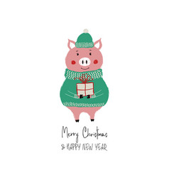 new year card with cute pig vector image