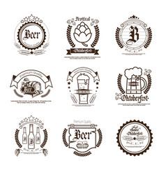 Oktoberfest beer festival logos set holiday vector
