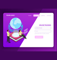 Online training landing page vector
