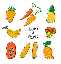 Orange and yellow cartoon fruits and veggies set vector