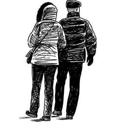pair at walk vector image