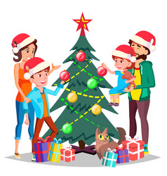 Parents with children decorating a christmas tree vector